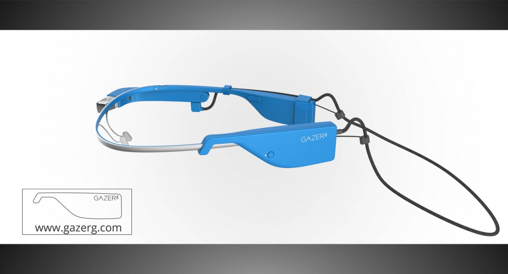 Sky color glasses with new Google Glass battery pack – left side