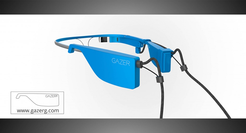 Sky color glasses with new battery for Google Glass – rear side
