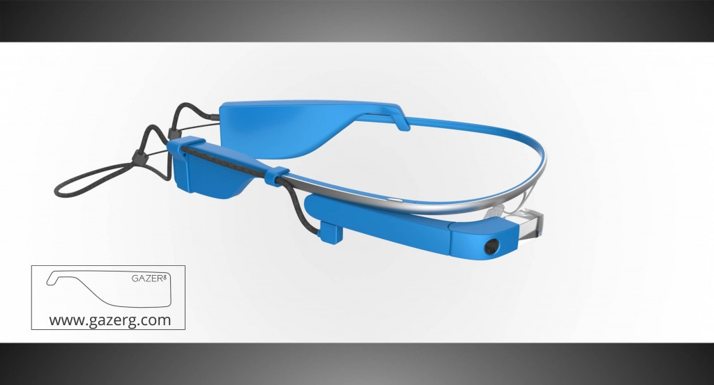 Sky color glasses with new battery for Google Glass – right side